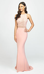 Image of t-back long formal prom dress with beaded bodice. Style: NM-19-197 Front Image