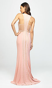 Image of t-back long formal prom dress with beaded bodice. Style: NM-19-197 Back Image