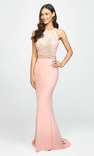 T-Back Long Formal Prom Dress with Beaded Bodice