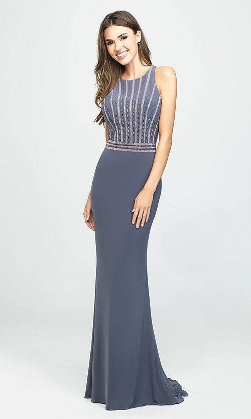 Image of t-back long formal prom dress with beaded bodice. Style: NM-19-197 Detail Image 2