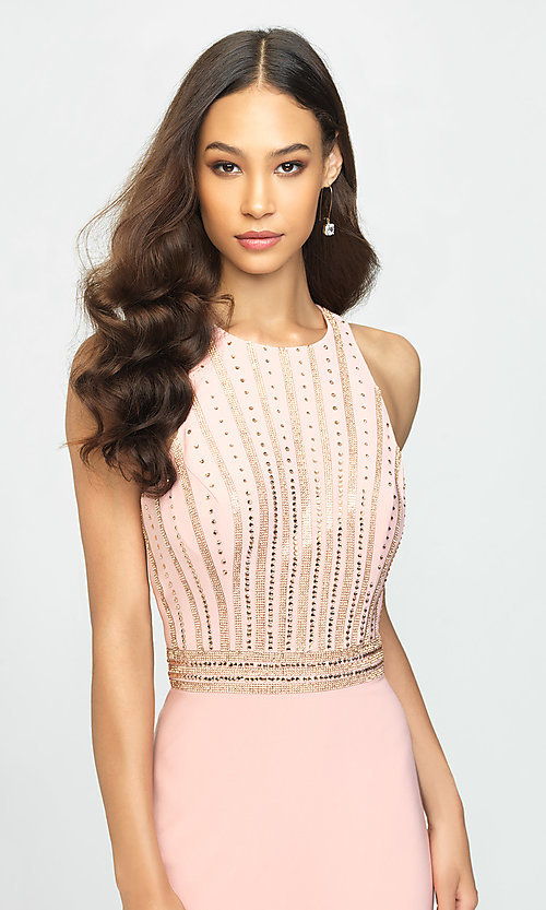 Image of t-back long formal prom dress with beaded bodice. Style: NM-19-197 Detail Image 1