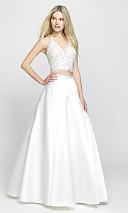 Image of two-piece prom ball gown with lace top and pockets. Style: NM-19-198 Front Image