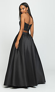 Image of two-piece prom ball gown with lace top and pockets. Style: NM-19-198 Back Image