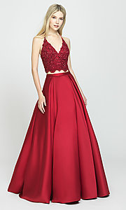 Image of two-piece prom ball gown with lace top and pockets. Style: NM-19-198 Detail Image 2