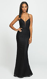 Image of Madison James long lace prom dress. Style: NM-19-199 Front Image