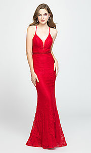 Image of Madison James long lace prom dress. Style: NM-19-199 Detail Image 2