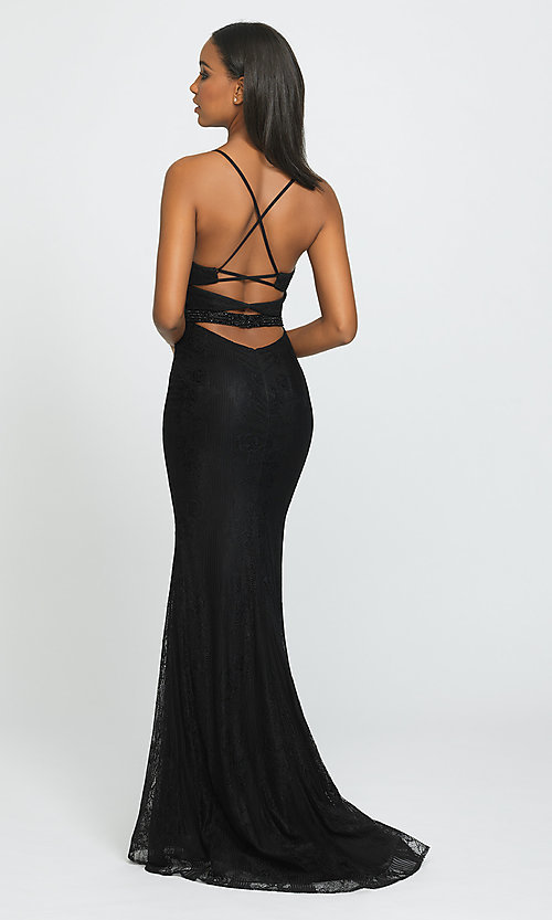 Image of Madison James long lace prom dress. Style: NM-19-199 Back Image