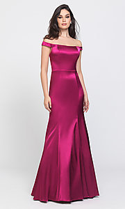 Image of long trumpet prom dress with off-shoulder neckline. Style: NM-19-200 Detail Image 1