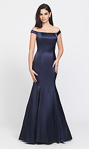 Image of long trumpet prom dress with off-shoulder neckline. Style: NM-19-200 Front Image