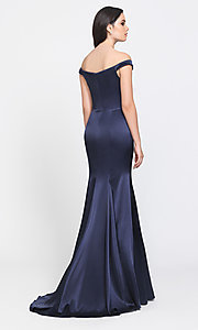 Image of long trumpet prom dress with off-shoulder neckline. Style: NM-19-200 Back Image