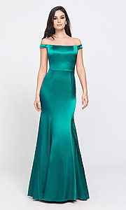 Image of long trumpet prom dress with off-shoulder neckline. Style: NM-19-200 Detail Image 3