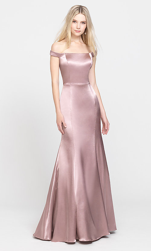 Image of long trumpet prom dress with off-shoulder neckline. Style: NM-19-200 Detail Image 2