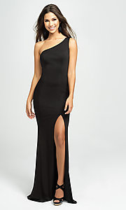 Image of one-shoulder long prom dress with slit. Style: NM-19-205 Detail Image 1