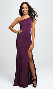 Image of one-shoulder long prom dress with slit. Style: NM-19-205 Front Image