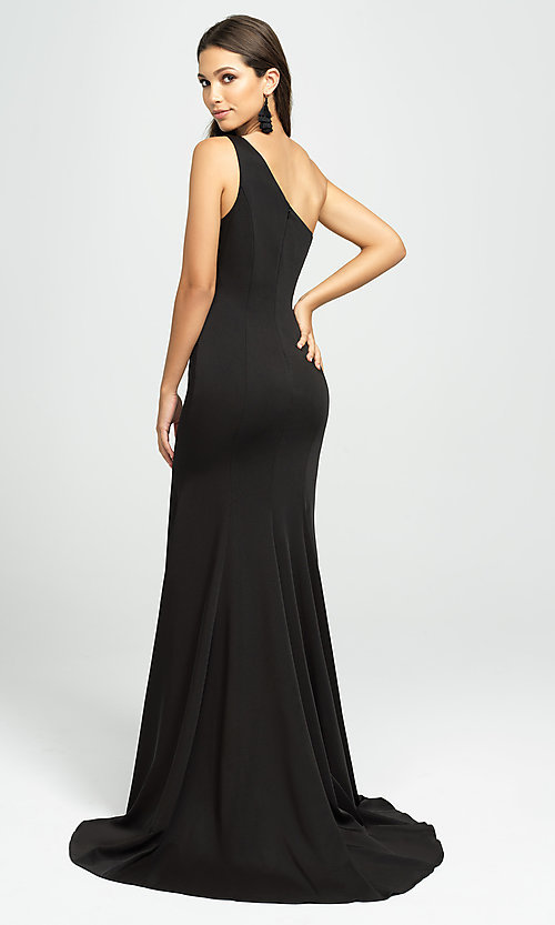 Image of one-shoulder long prom dress with slit. Style: NM-19-205 Back Image