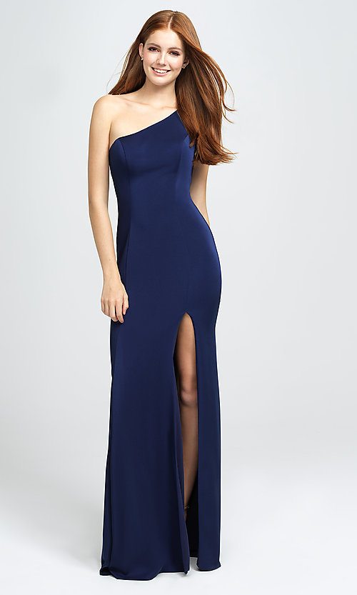 Image of one-shoulder long prom dress with slit. Style: NM-19-205 Detail Image 2