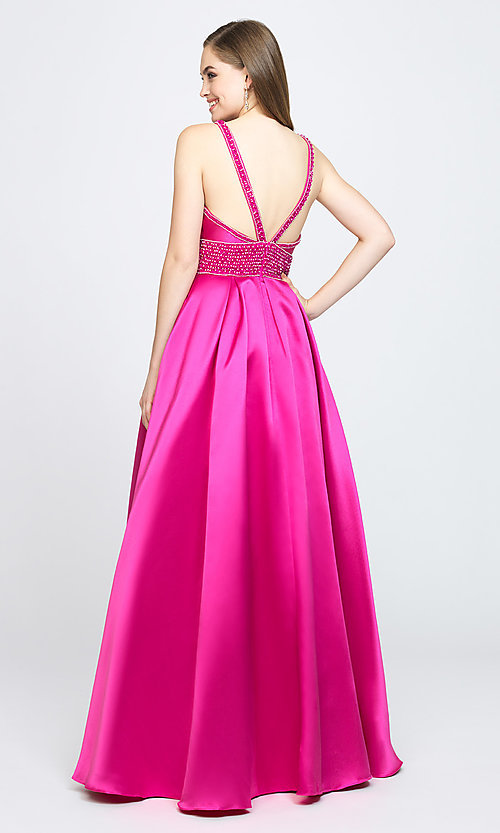 Image of Madison James low-v-neck prom dress. Style: NM-19-206 Back Image
