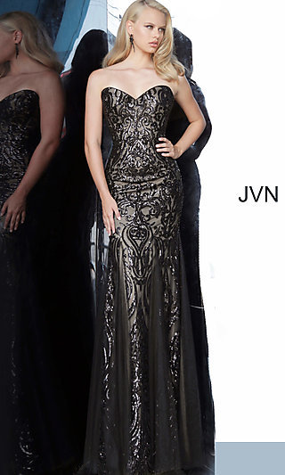 Strapless Sequin Formal Dress from JVN by Jovani