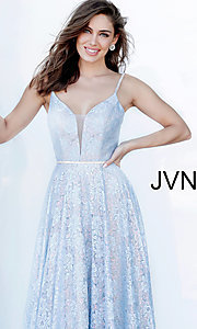 Image of lace light blue long formal prom dress with beads. Style: JO-JVN-JVN03111 Detail Image 1
