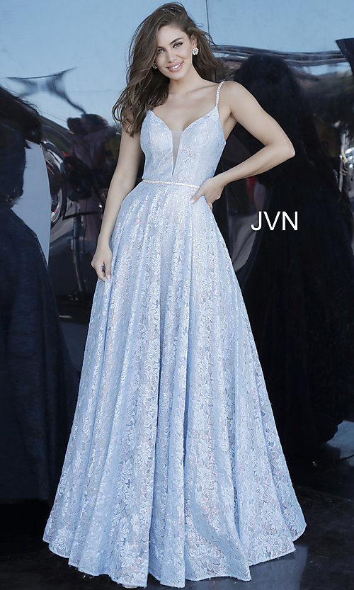 Image of lace light blue long formal prom dress with beads. Style: JO-JVN-JVN03111 Front Image