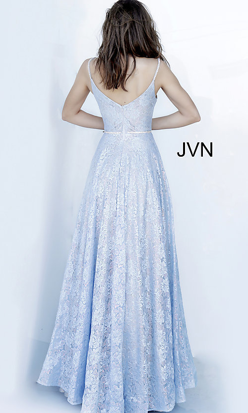 Image of lace light blue long formal prom dress with beads. Style: JO-JVN-JVN03111 Back Image