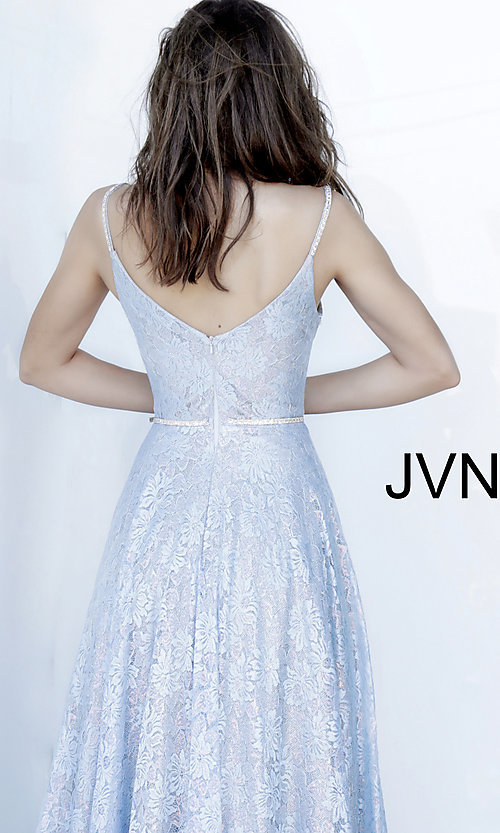 Image of lace light blue long formal prom dress with beads. Style: JO-JVN-JVN03111 Detail Image 2