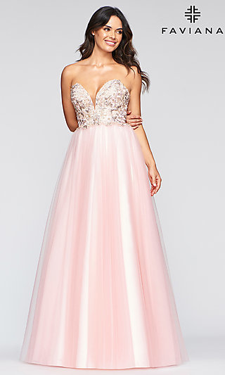 Long A-Line Faviana Formal Dress with Embroidery