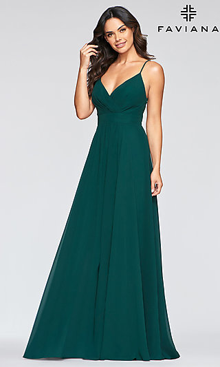 Long A-Line Chiffon Empire-Waist Formal Dress