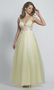 Image of ball-gown-style long yellow formal prom dress. Style: DJ-A8448 Front Image