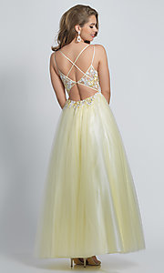 Image of ball-gown-style long yellow formal prom dress. Style: DJ-A8448 Back Image