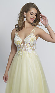 Image of ball-gown-style long yellow formal prom dress. Style: DJ-A8448 Detail Image 1