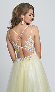 Image of ball-gown-style long yellow formal prom dress. Style: DJ-A8448 Detail Image 2