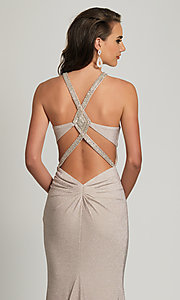 Image of long statement-back silver glitter formal dress. Style: DJ-A8626 Detail Image 1