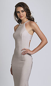 Image of long statement-back silver glitter formal dress. Style: DJ-A8626 Detail Image 2