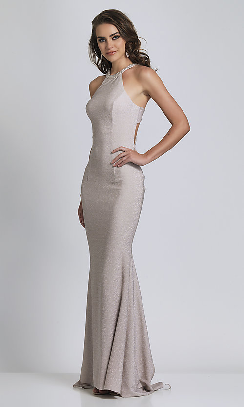 Image of long statement-back silver glitter formal dress. Style: DJ-A8626 Back Image