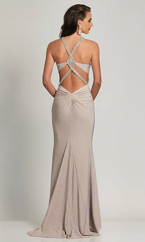 Image of long statement-back silver glitter formal dress. Style: DJ-A8626 Front Image