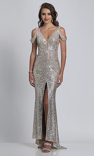 Cold-Shoulder Long Nude with Silver Sequin Formal Prom Dress