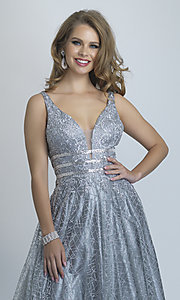 Image of long open-back silver glitter formal prom dress. Style: DJ-A8794 Detail Image 1