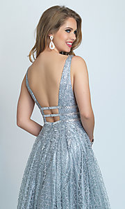 Image of long open-back silver glitter formal prom dress. Style: DJ-A8794 Detail Image 2