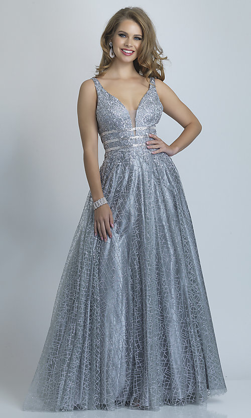 Image of long open-back silver glitter formal prom dress. Style: DJ-A8794 Front Image