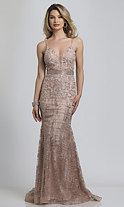 Image of rose gold glitter long formal prom dress. Style: DJ-A8804 Front Image
