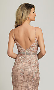 Image of rose gold glitter long formal prom dress. Style: DJ-A8804 Detail Image 2