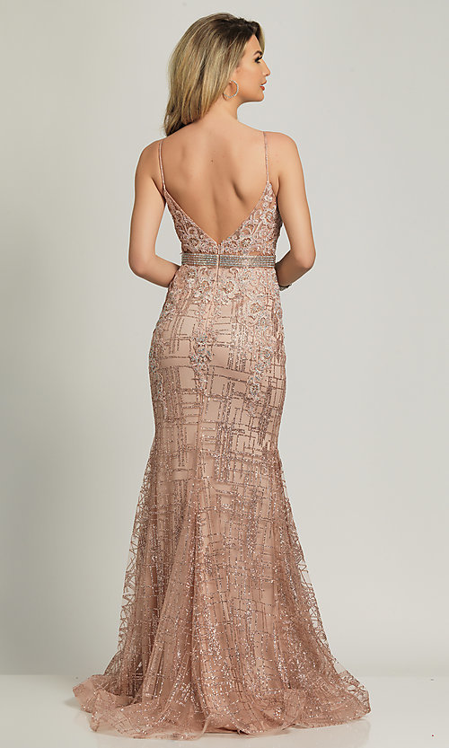 Image of rose gold glitter long formal prom dress. Style: DJ-A8804 Back Image