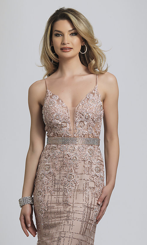 Image of rose gold glitter long formal prom dress. Style: DJ-A8804 Detail Image 1