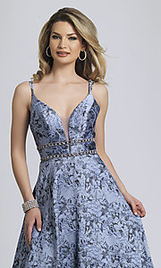 Image of long a-line lavender print formal prom dress. Style: DJ-A8811 Detail Image 1
