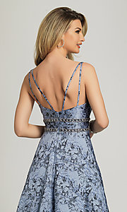 Image of long a-line lavender print formal prom dress. Style: DJ-A8811 Detail Image 2