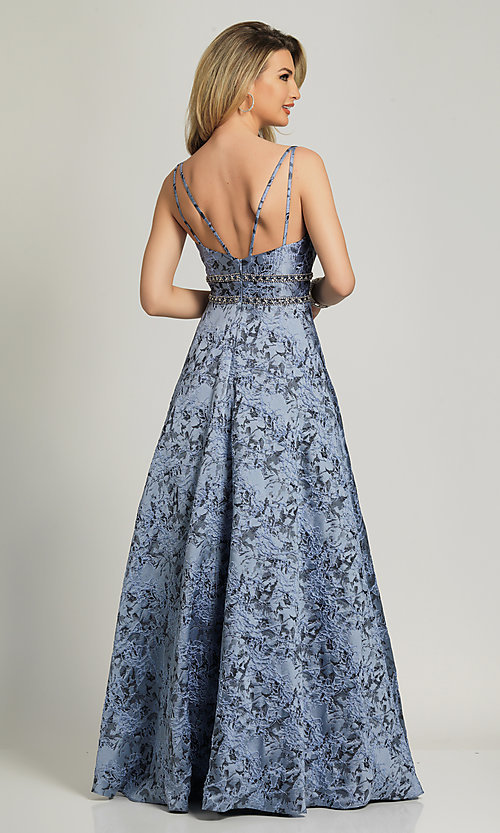 Image of long a-line lavender print formal prom dress. Style: DJ-A8811 Back Image