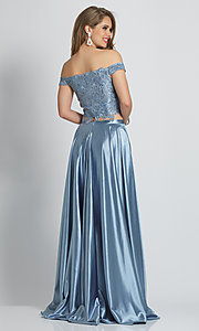 Image of long two-piece embroidered-top formal prom dress. Style: DJ-A8846 Back Image