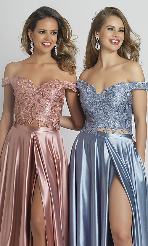 Image of long two-piece embroidered-top formal prom dress. Style: DJ-A8846 Detail Image 1