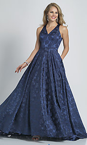 Image of navy blue a-line long formal prom dress with print. Style: DJ-A8866 Front Image